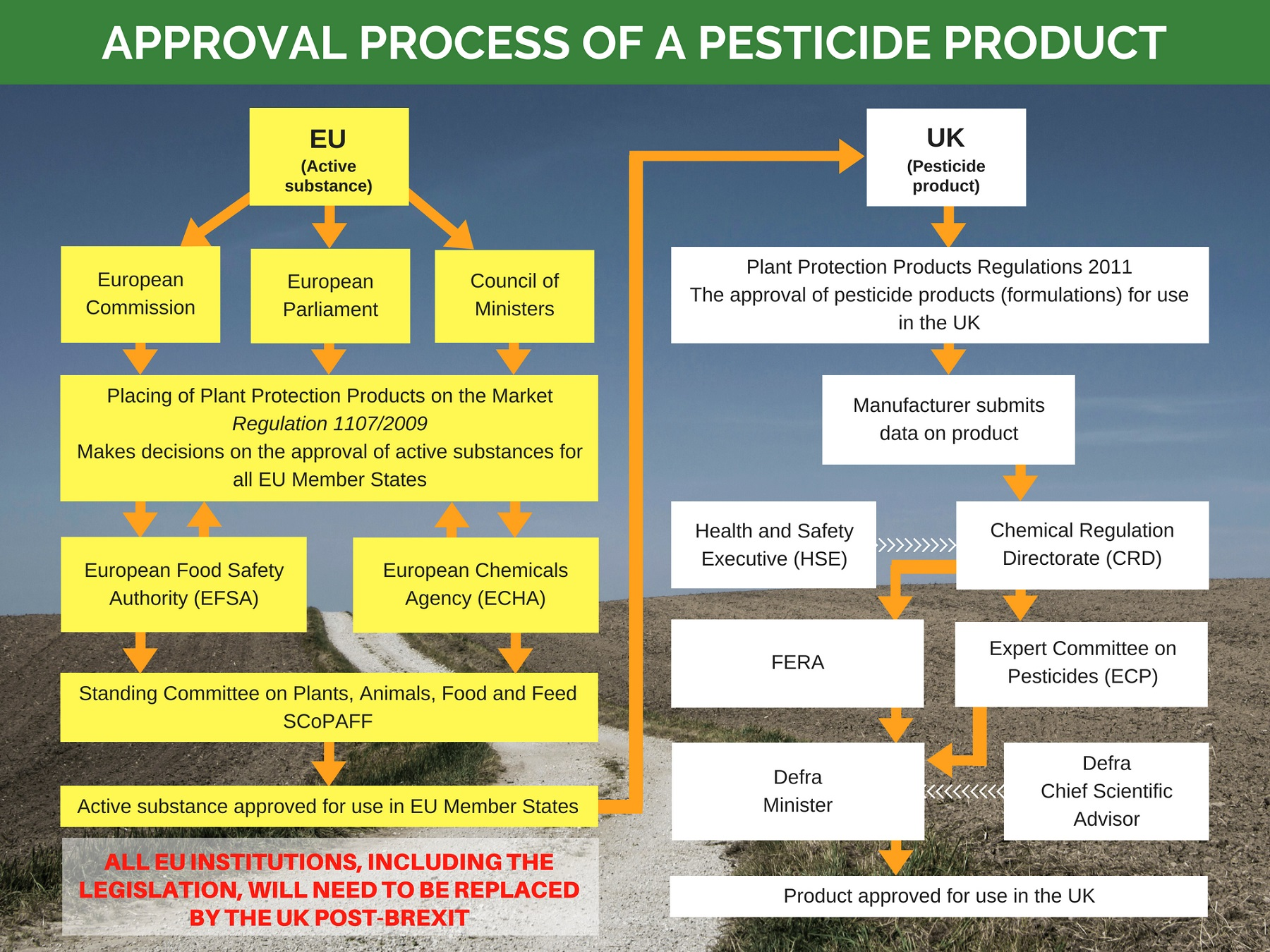 Approval process of a pesticide product - pathway
