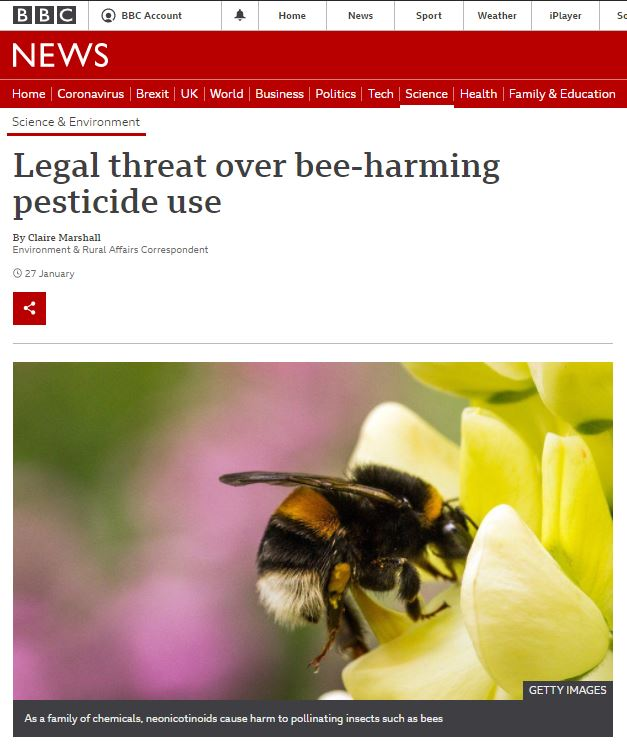 BBC News: Legal threat over bee-harming pesticide use
