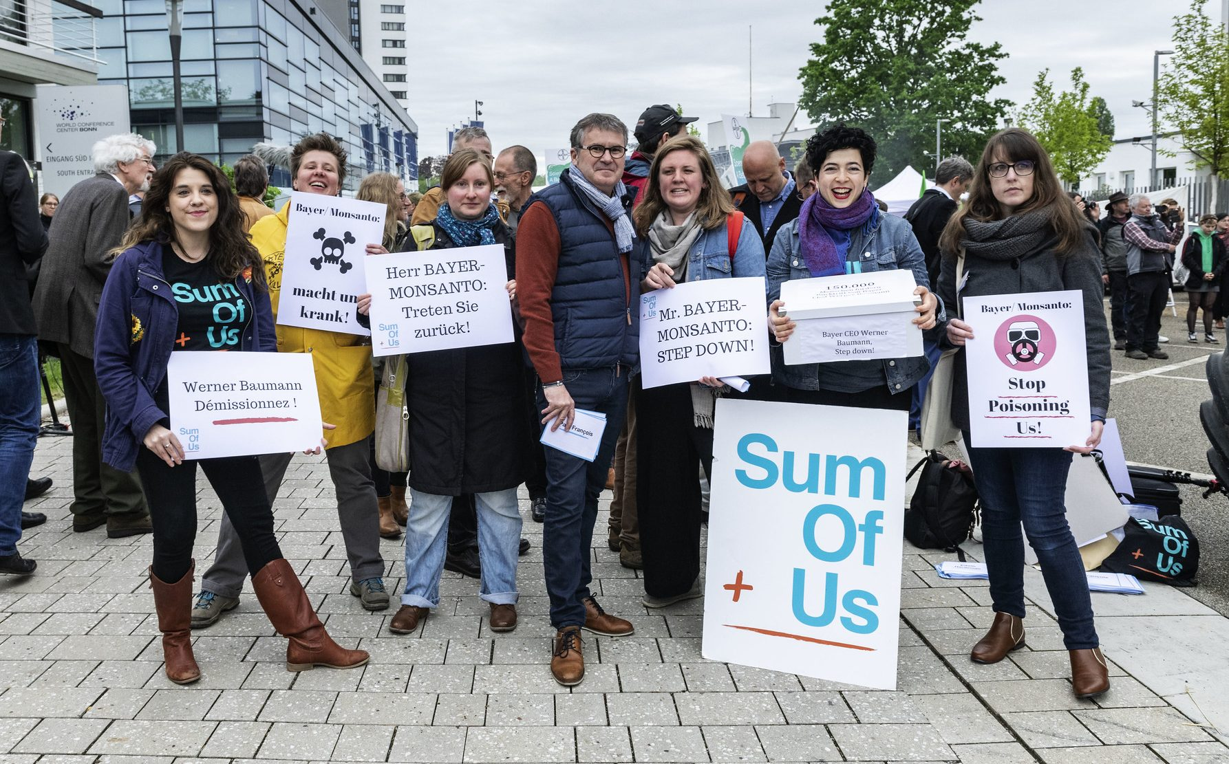 Paul François and Sum of Us activists at the Bayer-Monsanto AGM