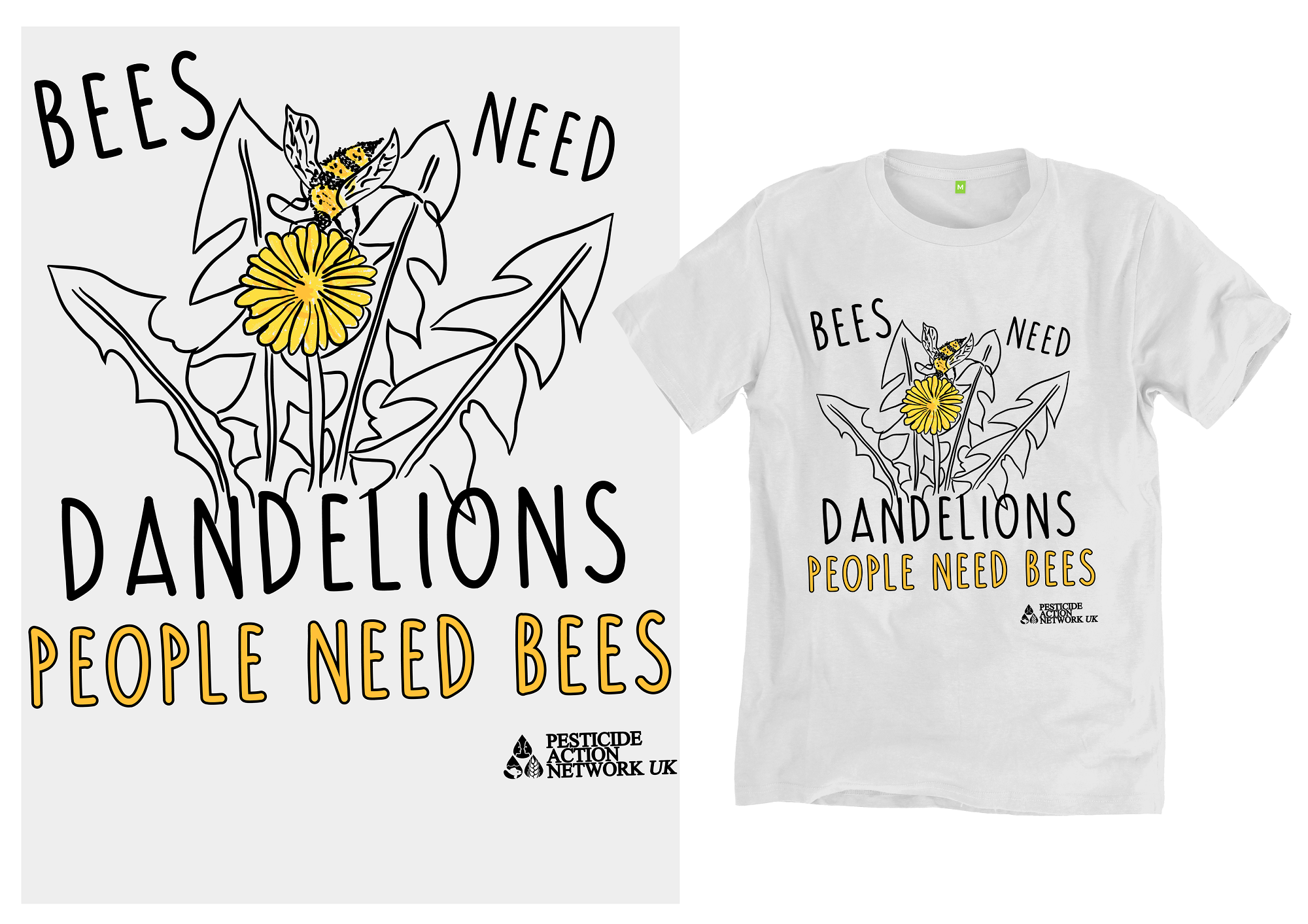 Bees need dandelions t-shirts