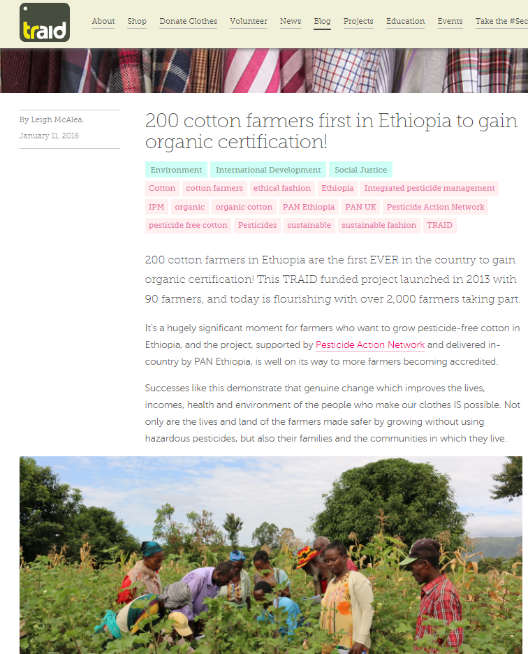 TRAID - 200 cotton farmers first in Ethiopia to gain organic certification