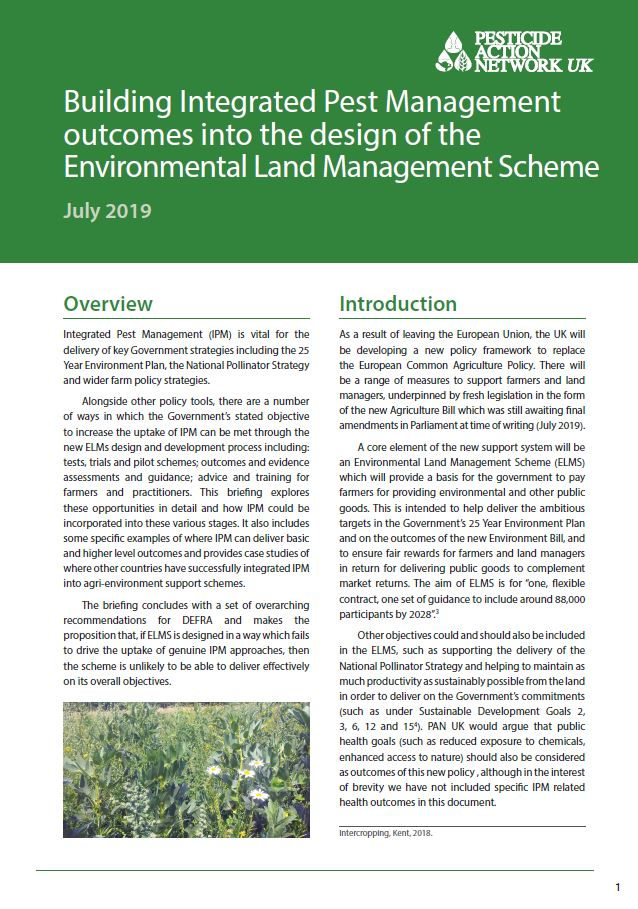 Building IPM outcomes into the Environmental Land Management Scheme