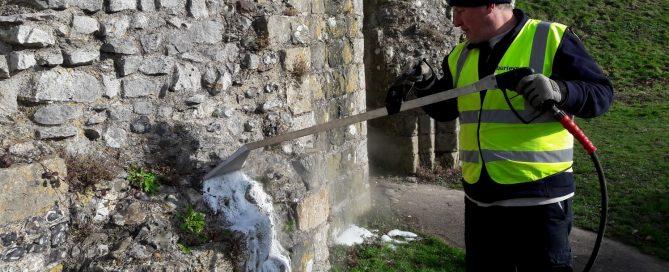 Burleys using Foamstream to kill weeds