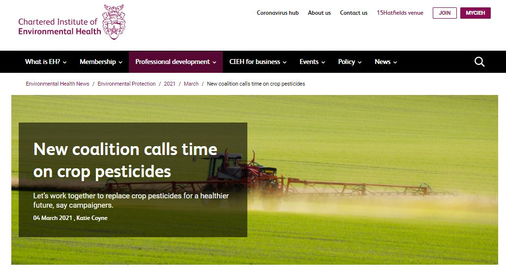 Chartered Institute of Environmental Health: New coalition calls time on crop pesticides