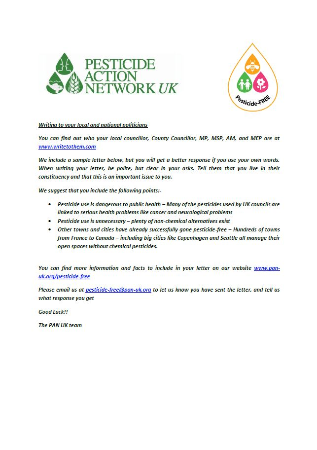 Pesticide Free Towns Sample Letter to Contact Politicians