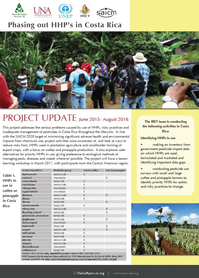 Phasing out HHPs in Costa Rica - Project Update September 2016