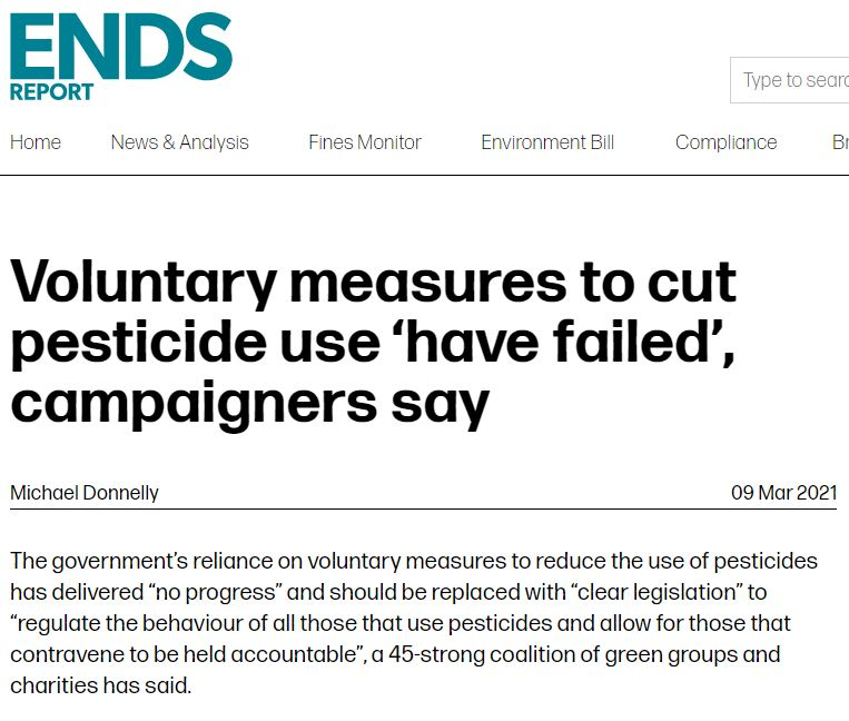 The Ends Report: Voluntary measures to cut pesticide use 'have failed', campaigners say