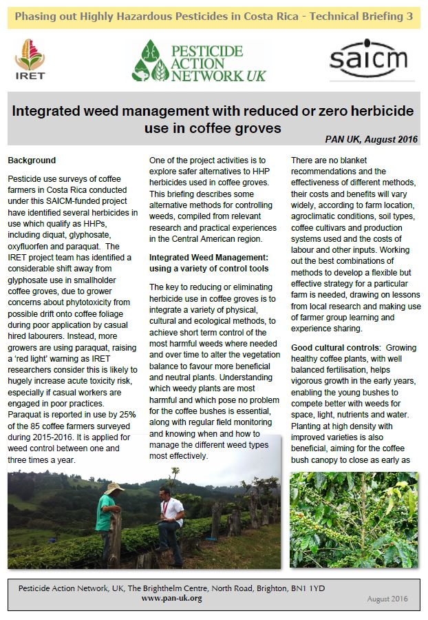 Phasing out HHPs in Costa Rica - Weed management in coffee groves