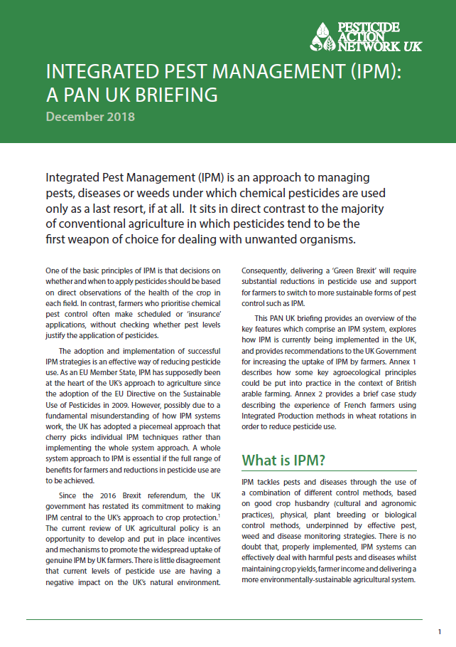 Integrated Pest Management IPM - A PAN UK briefing