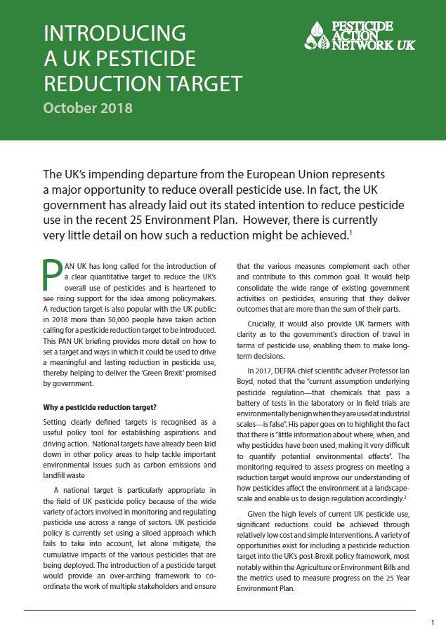 Introducing a UK pesticide reduction target