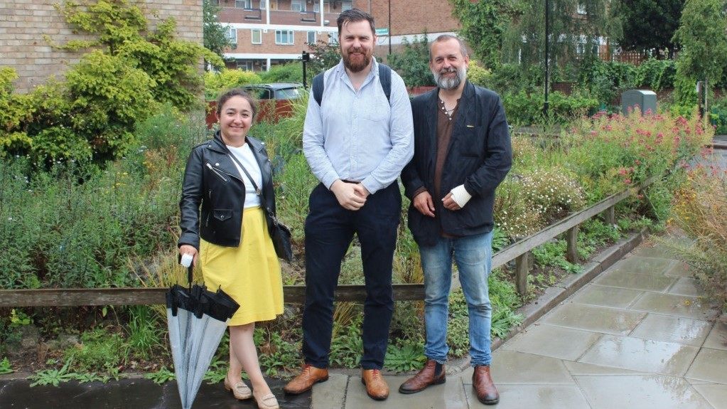 A pesticide-free pilot area, Hackney. Left to right: Cllr Feryal Demirci, Jon Burke and Nick Mole, PAN UK's Policy Officer.