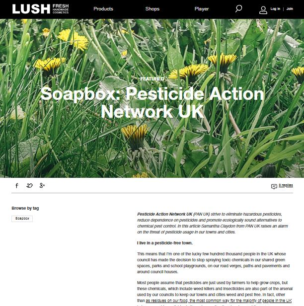 Lush Soapbox - I live in a pesticide-free town