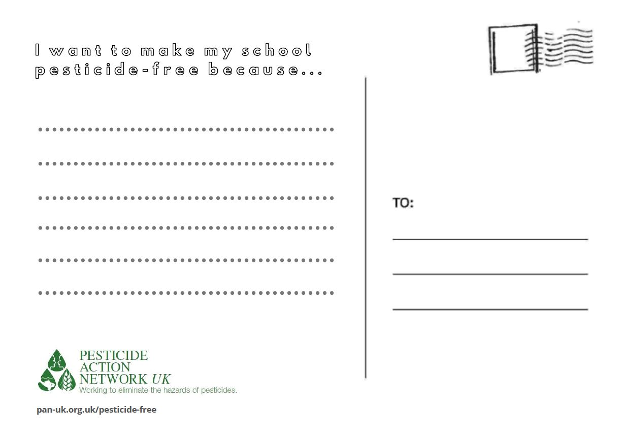 Make my school pesticide-free postcard side 2