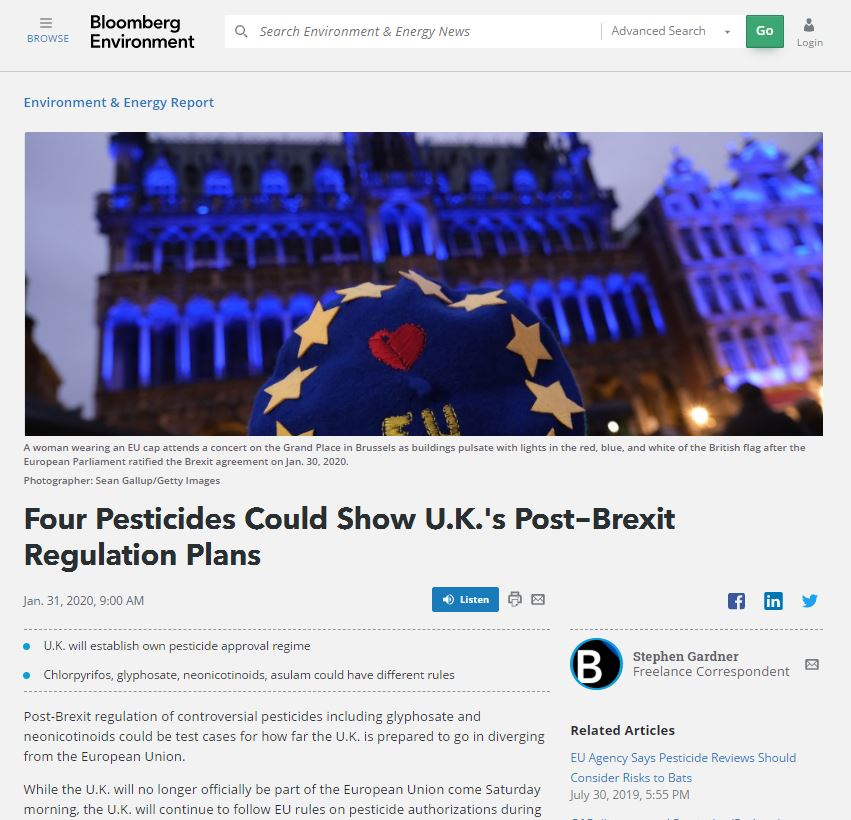 Bloomberg Environment - Four pesticides could show UK's post-Brexit regulation plans