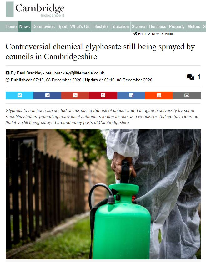 Cambridge Independent - Controversial chemical glyphosate still being sprayed by councils in Cambridgeshire
