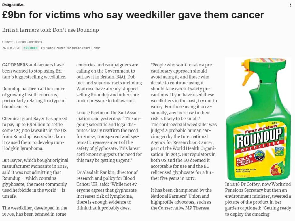 Daily Mail - £9bn for victims who say weedkiller gave them cancer