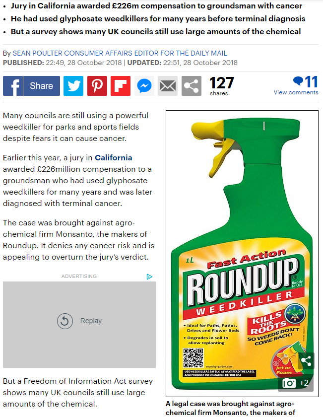 Daily Mail - Nine out of ten UK councils STILL uses weed killer feared to be carcinogenic