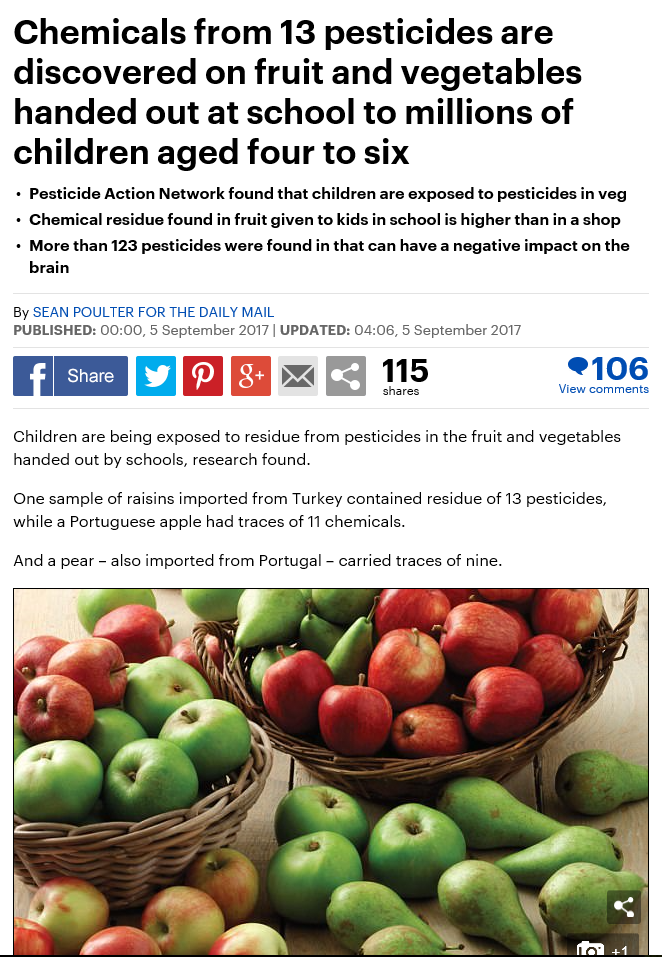 Daily Mail - Chemicals from 13 pesticides are discovered on fruit and vegetables handed out at school