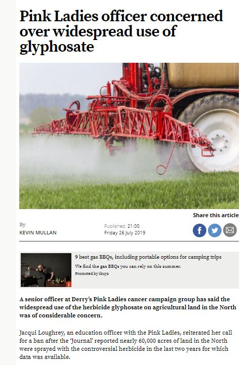 Derry Journal - Pink Ladies officer concerned over widespread use of glyphosate
