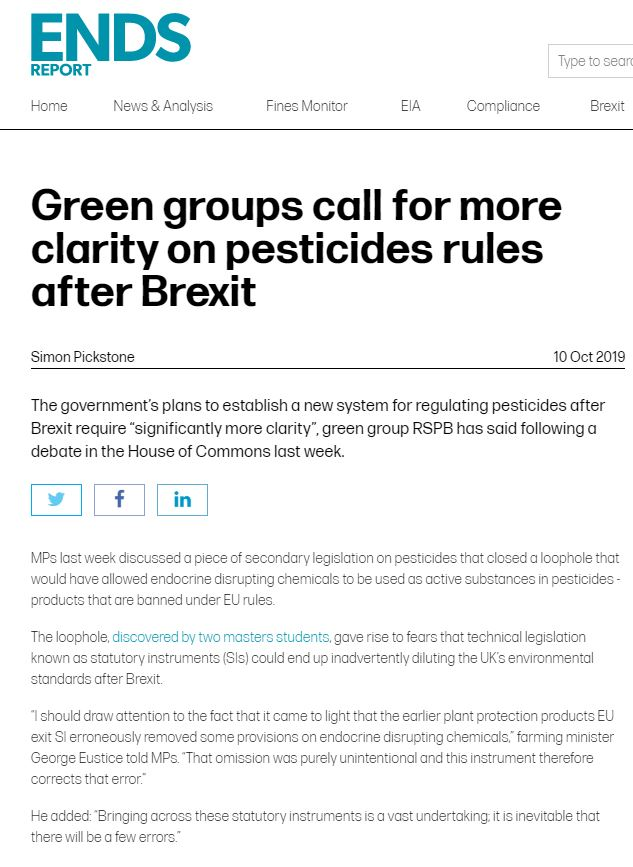Ends Report - Green groups call for more clarity on pesticides rules after Brexit