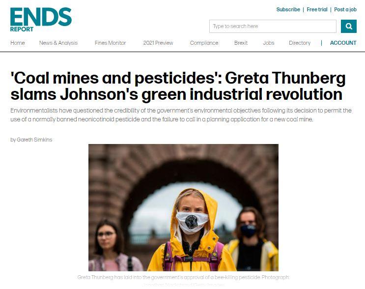 ENDS Report: 'Coal mines and pesticides' - Greta Thunberg slams Johnson's green industrial revolution