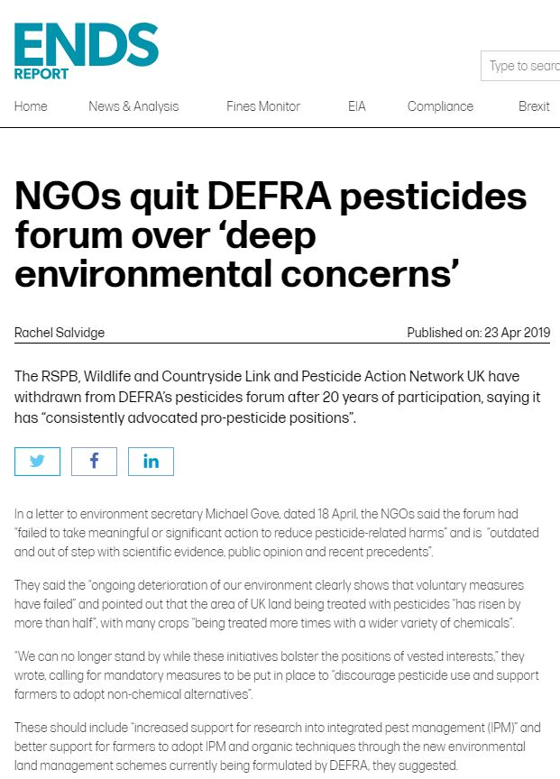 NGOs quit DEFRA pesticides forum over deep environmental concerns