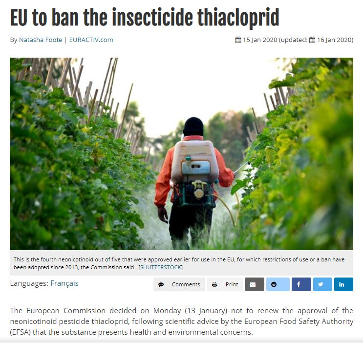 Euractiv - EU to ban the insecticide thiacloprid