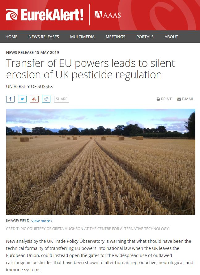 Eurekalert - Transfer of EU powers leads to silent erosion of UK pesticide regulations