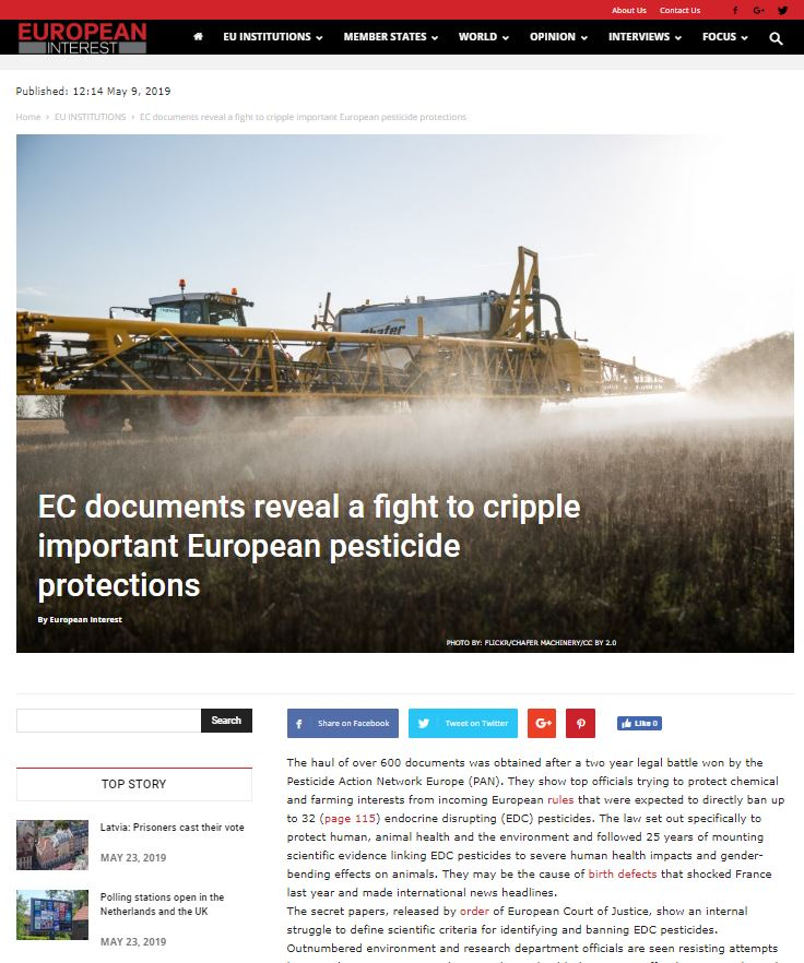 European Interest - EC documents reveal a fight to cripple important European pesticide protections
