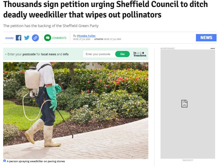 Examiner Live: Thousands sign petition urging Sheffield Council to ditch deadly weedkiller