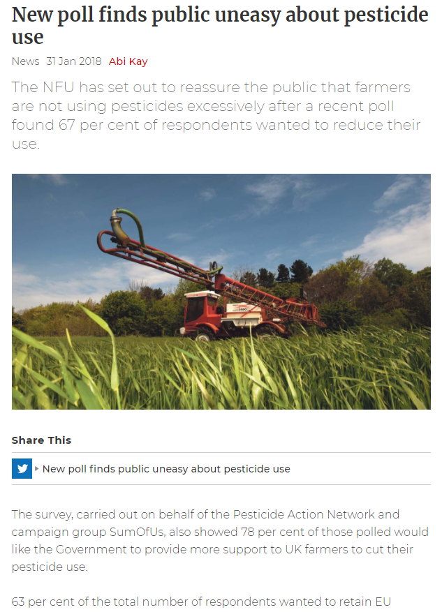 Farmers Guardian - New poll finds public uneasy about pesticide use