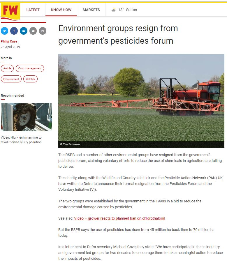 Farmers Weekly - Environment groups resign from pesticides forum