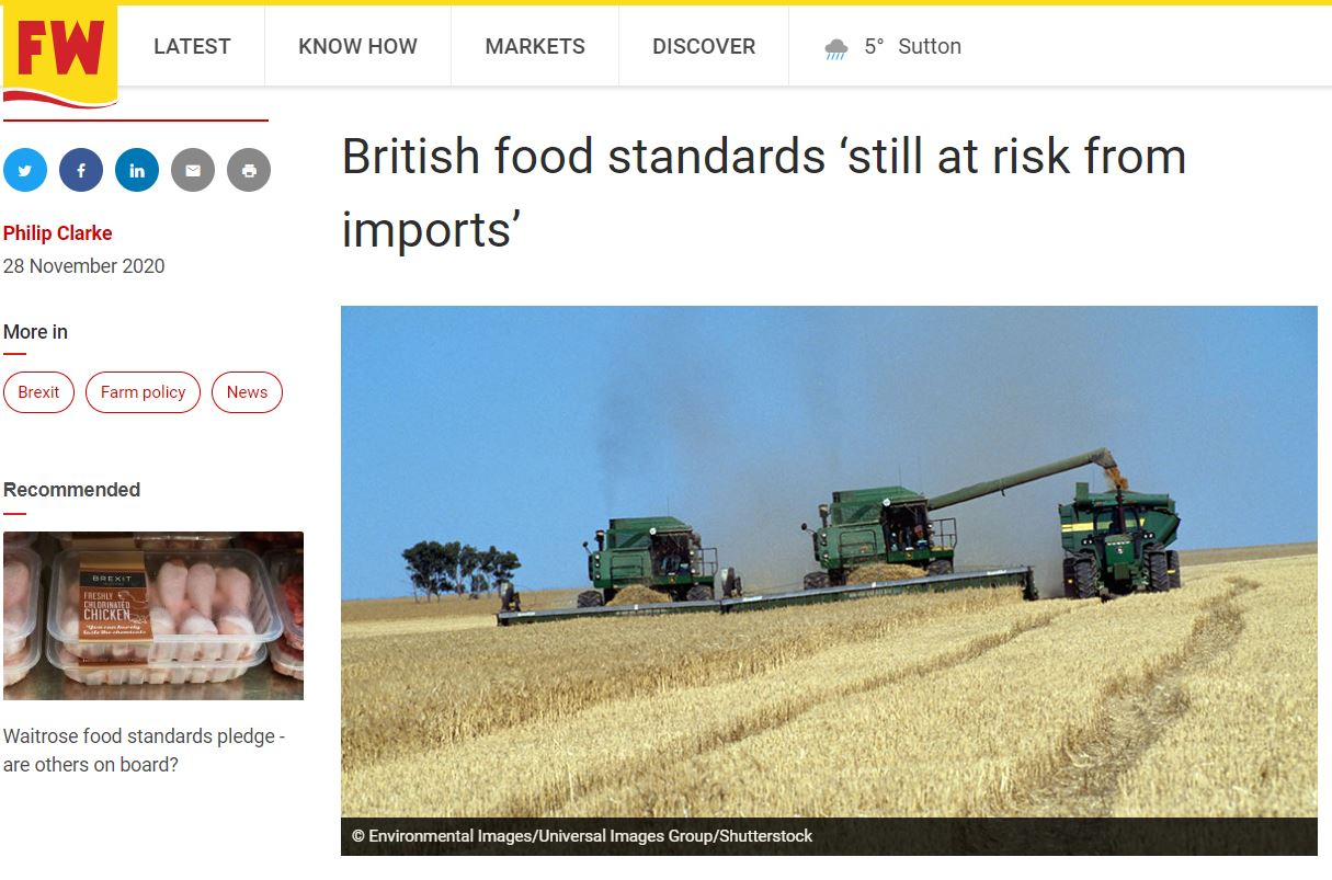 Farmers Weekly: British food standards 'still at risk from imports'