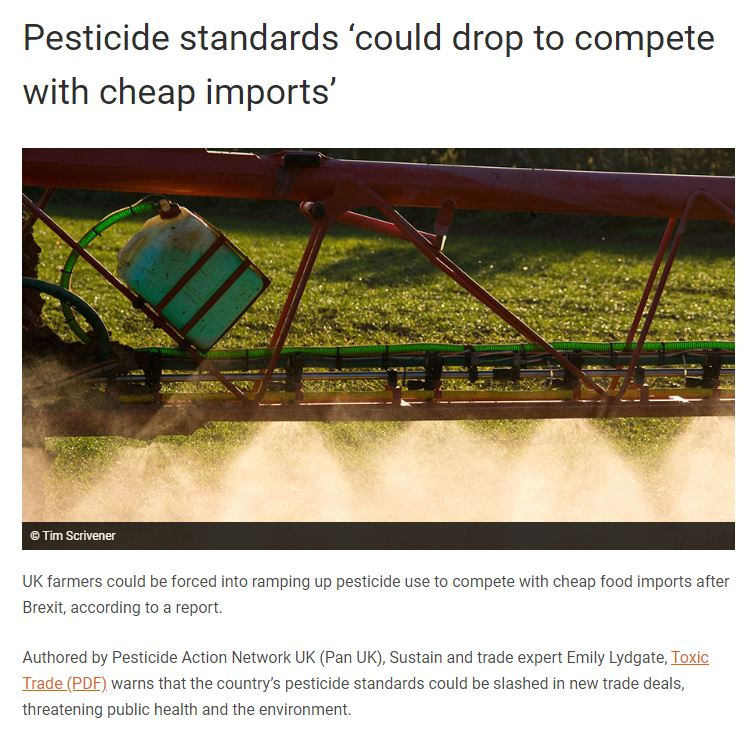 Farmers Weekly: Pesticide standards could drop to compete with cheap imports