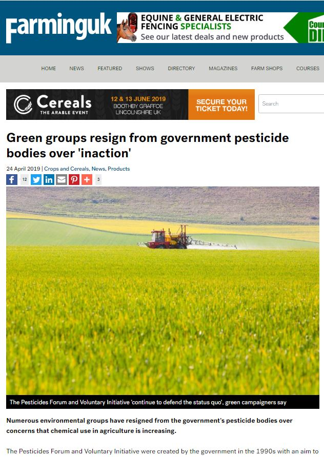 Farming UK - Green groups resign from government pesticide bodies