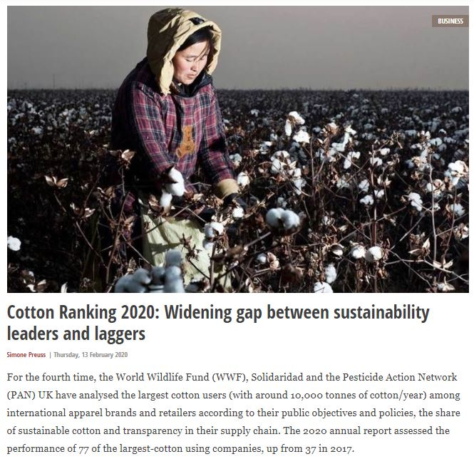 Fashion United: Cotton Ranking 2020 - widening gap between sustainability leaders and laggers