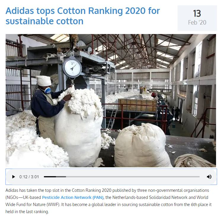 Fibre2Fashion: Adidas tops Cotton Ranking 2020 for sustainable cotton