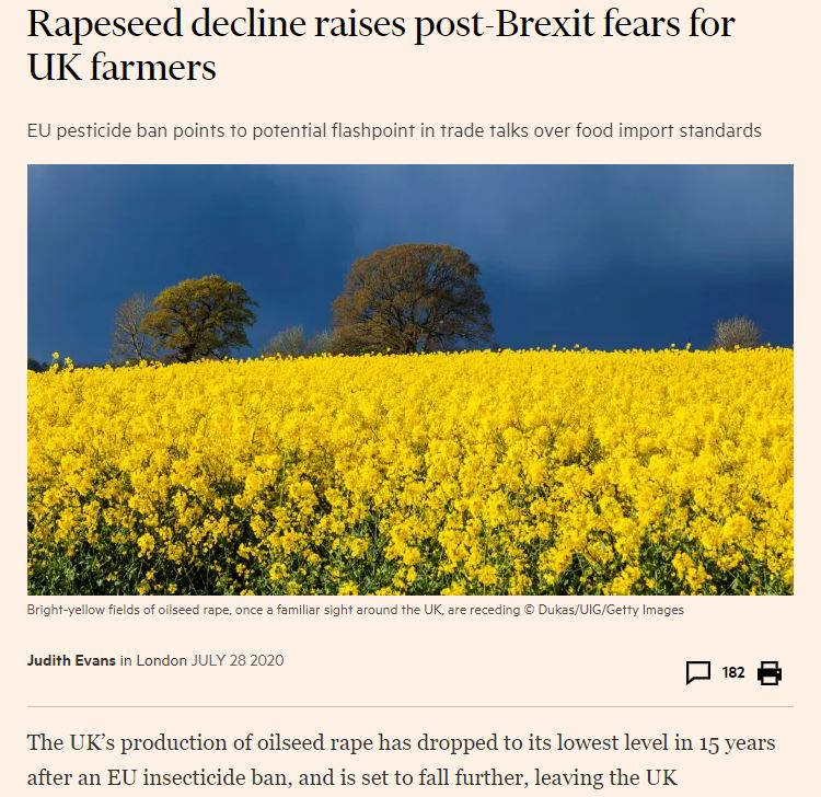 Financial Times: Rapeseed decline raises post-Brexit fears for UK farmers