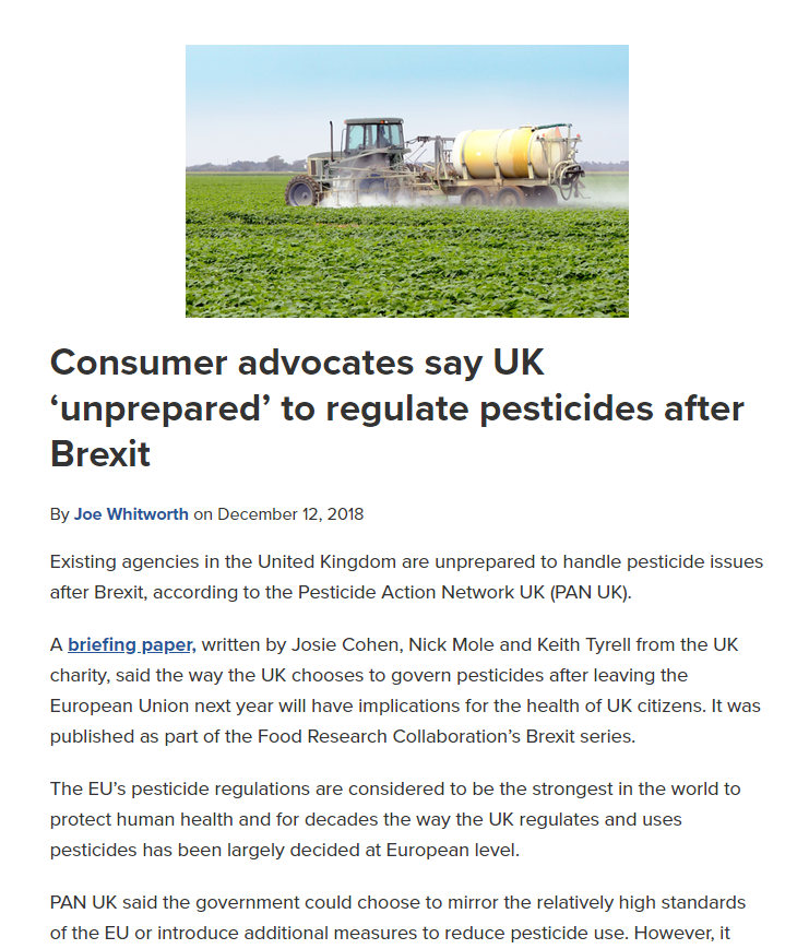 Food Safety News - UK unprepared to regulate pesticides after Brexit