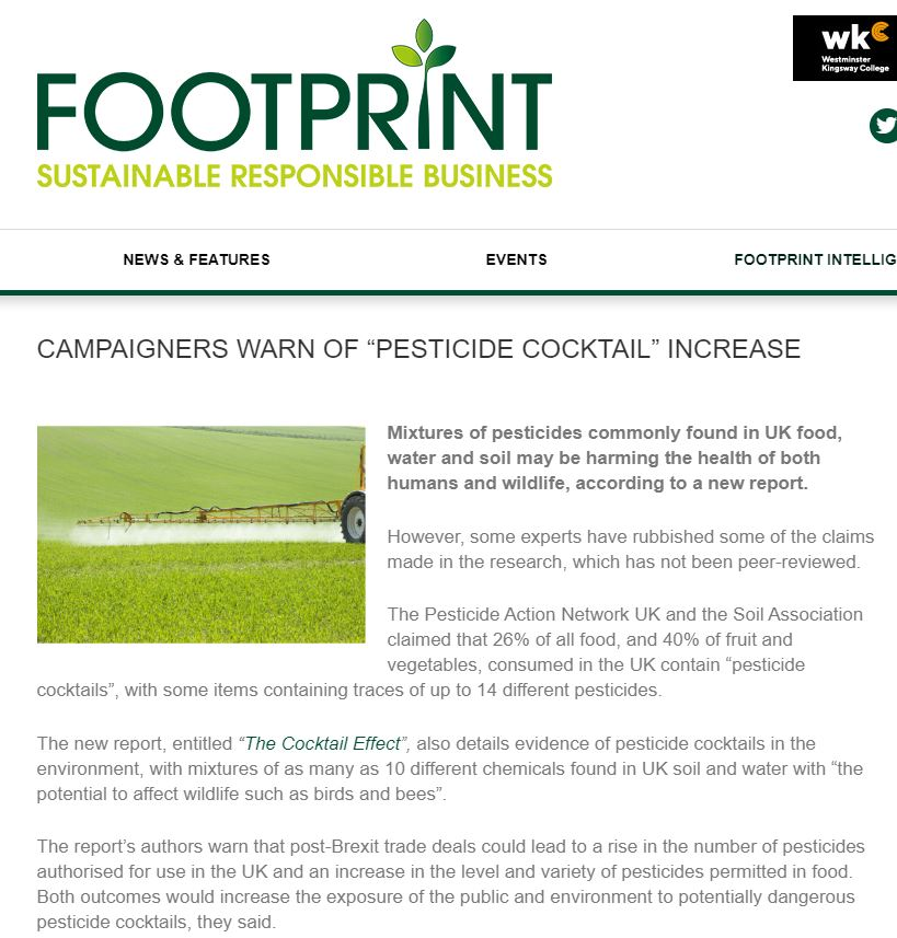 Footprint - Campaigners warn of pesticide cocktail increase
