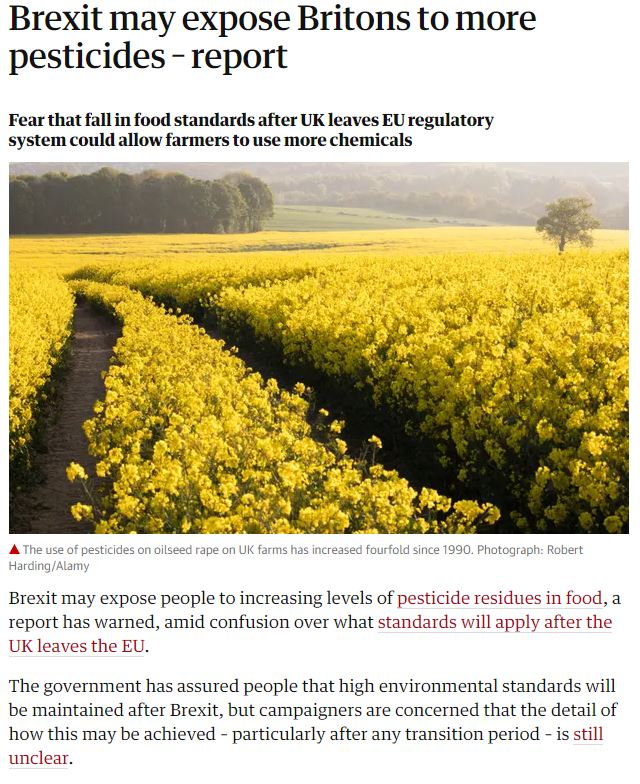 Guardian - Brexit may expose Britons to more pesticides