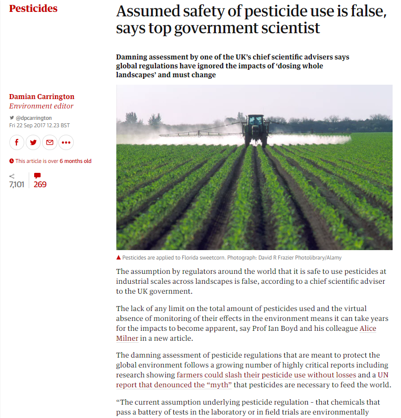 The Guardian - Assumed safety of pesticide use is false