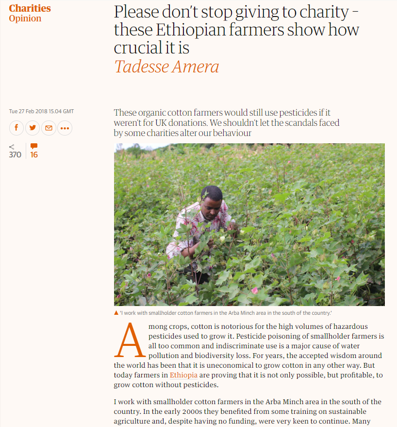 The Guardian - Please don't stop giving to charity – these Ethiopian farmers show how crucial it is