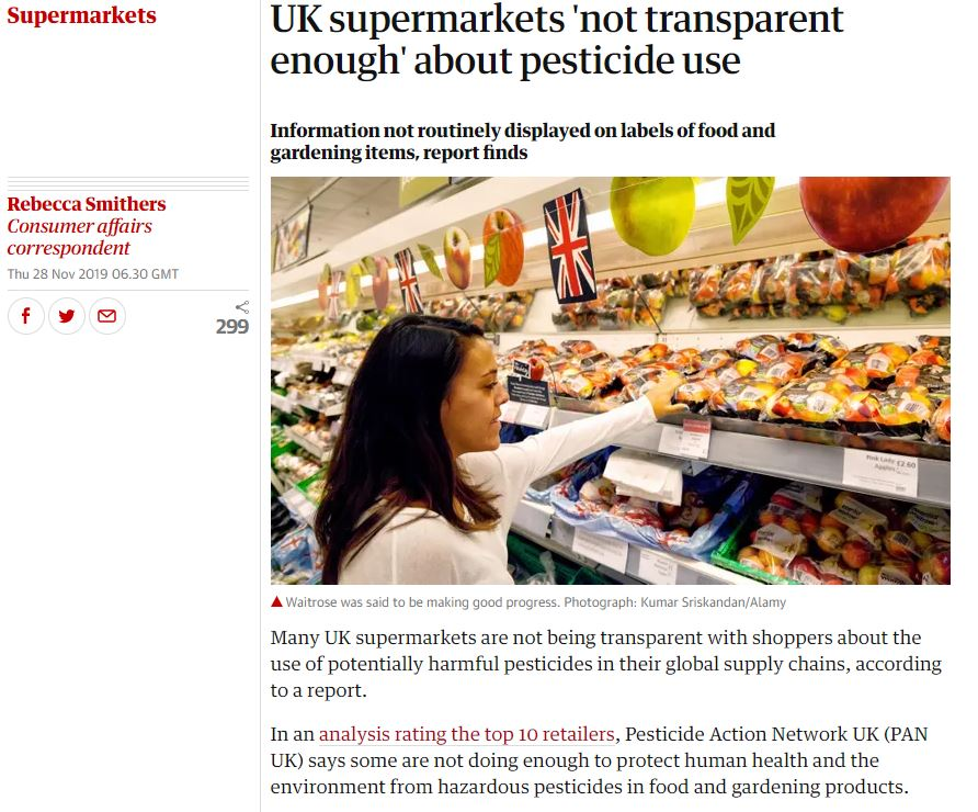 Guardian - UK supermarkets not transparent enough about pesticides