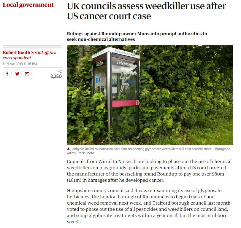 The Guardian: UK Councils assess weedkiller use after US cancer court case