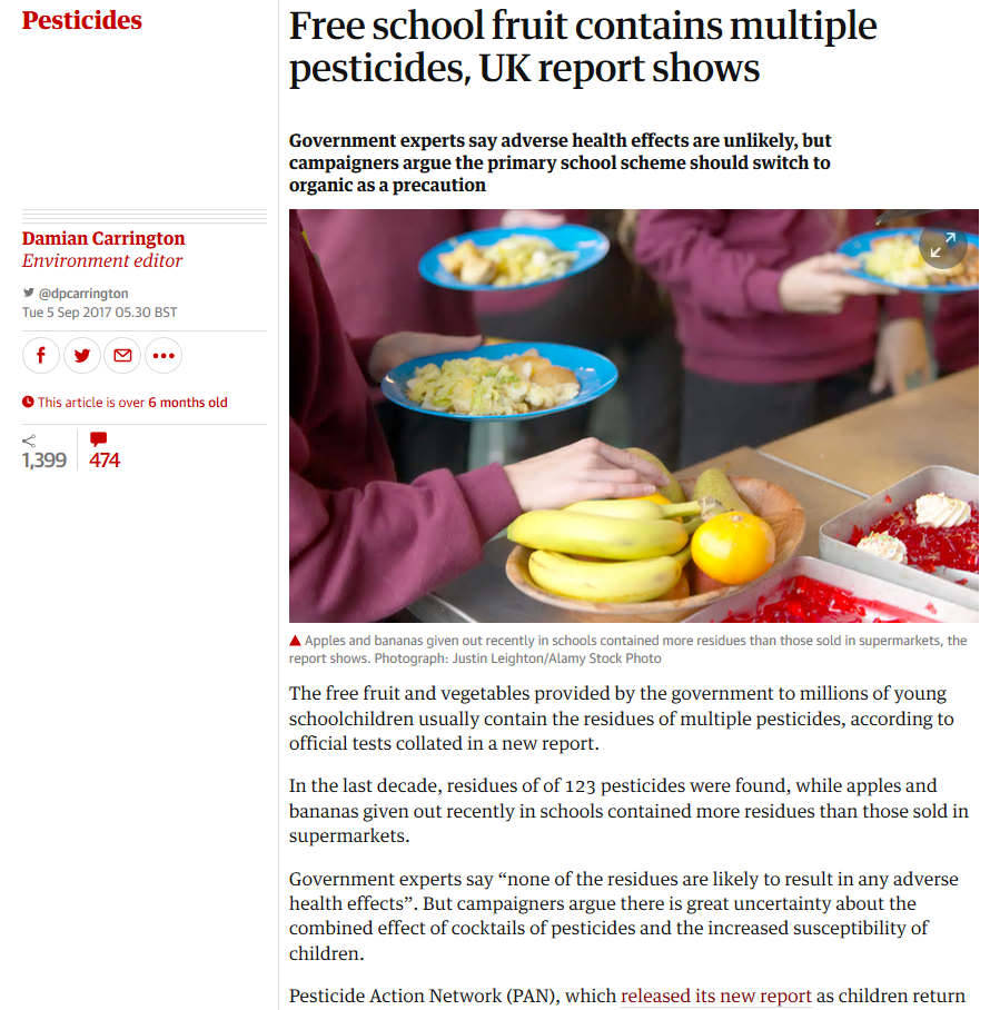 The Guardian - Free school fruit contains multiple pesticides, UK report shows