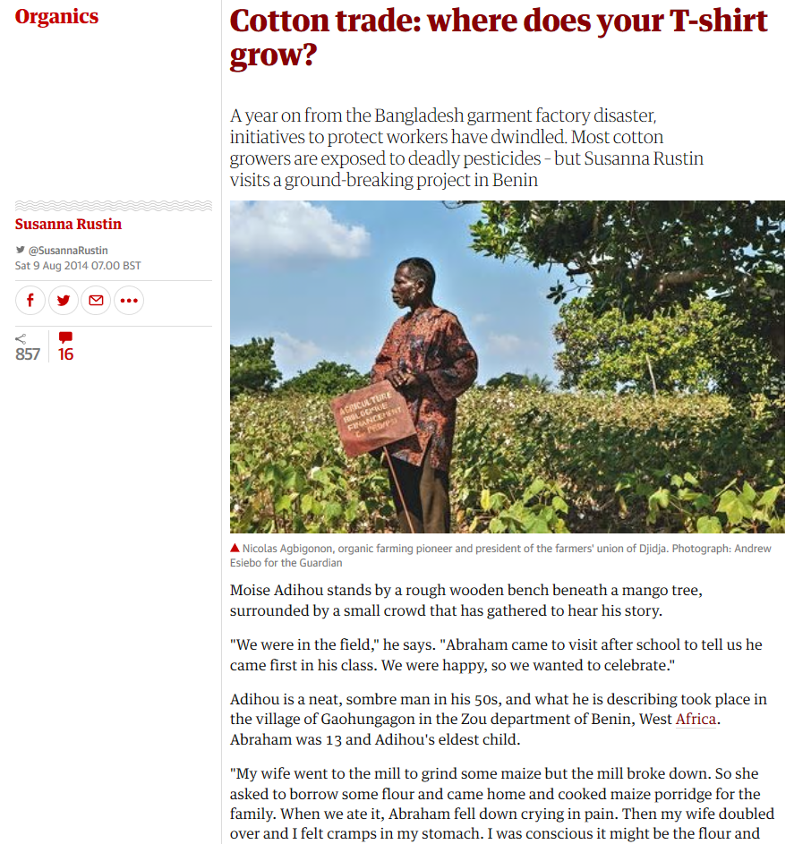 The Guardian - Cotton trade - where does your t-shirt grow