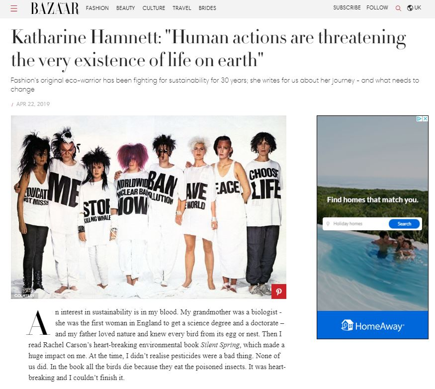 "Harper's Bazaar: Katharine Hamnett: ""Human actions are threatening the very existence of life on earth"""