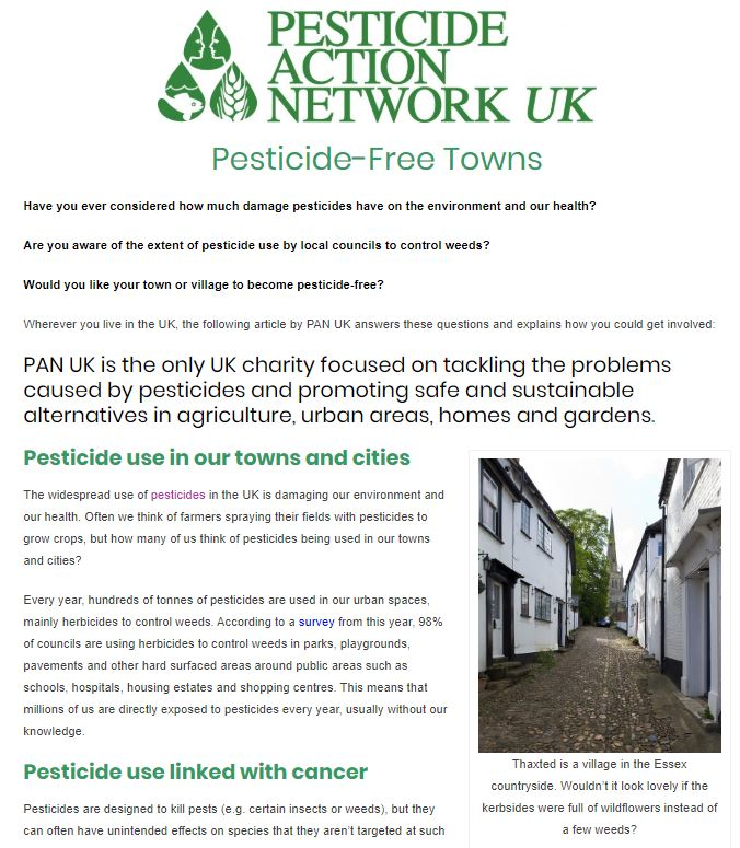 Healthy Life Essex - Pesticide-Free Towns