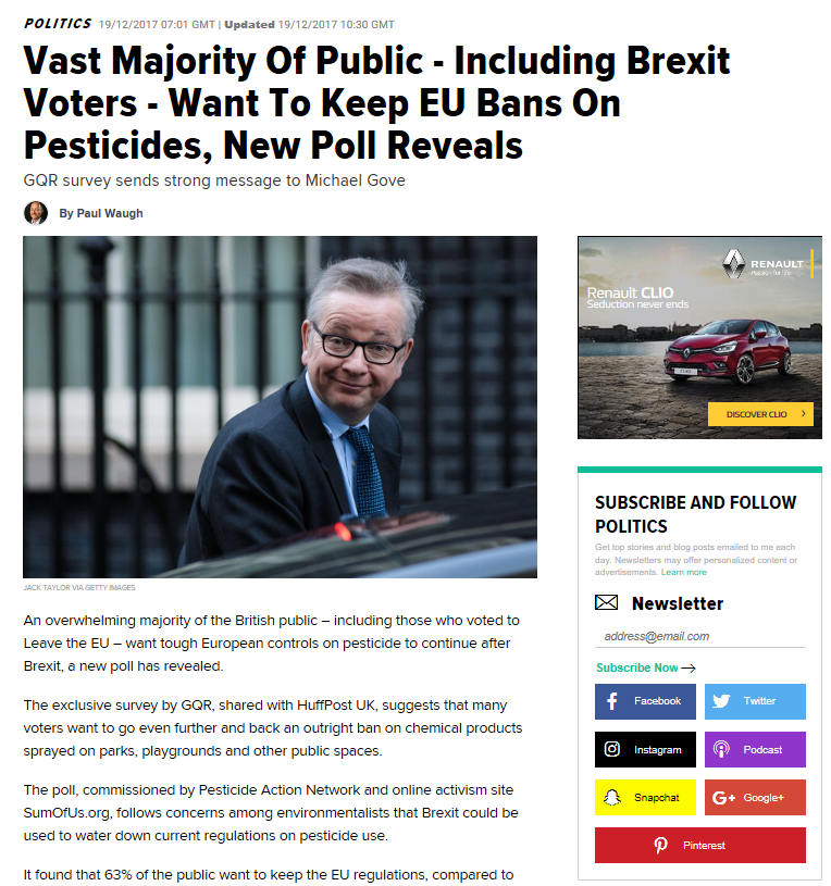Huffington Post - Vast majority of public want to keep EU bans on pesticides
